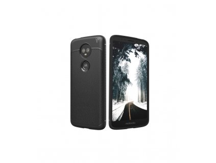 Puzdro Motorola Moto E5 plus kožená textúra čierne