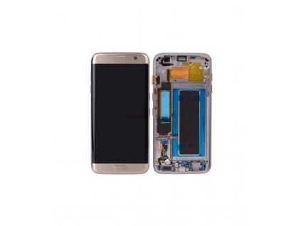 LCD displej a dotyková plocha s rámom OEM Samsung Galaxy S7 Edge G935 zlatá farba