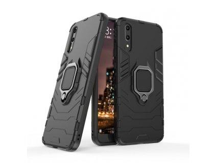 Puzdro Huawei P20 plastové čierne s držiakom