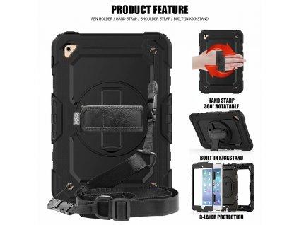 2 v 1 puzdro a držiak iPad mini 4/5 shockproof čierna farba