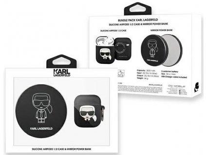 Karl Lagerfeld - Airpods 1/2 obal čierny + Bezdrôtová nabíjačka KLBPPBOA2K