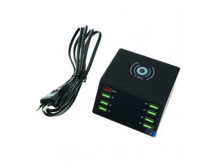 Nabíjacia stanica - 60W,8 Portov, bezdrôtové nabíjanie,3.0 Quick Charge
