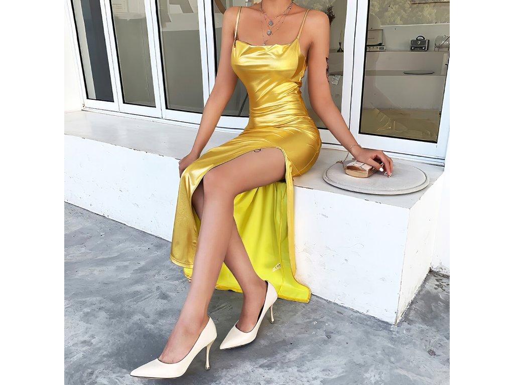 Sexy šaty dlouhé lesklé zlaté TINA4 zpředu 1