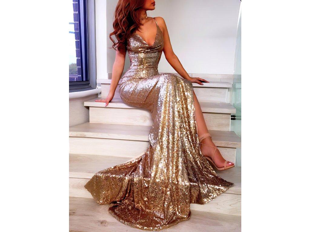 Sexy šaty dlouhé lesklé zlaté MILA18 zpředu 1