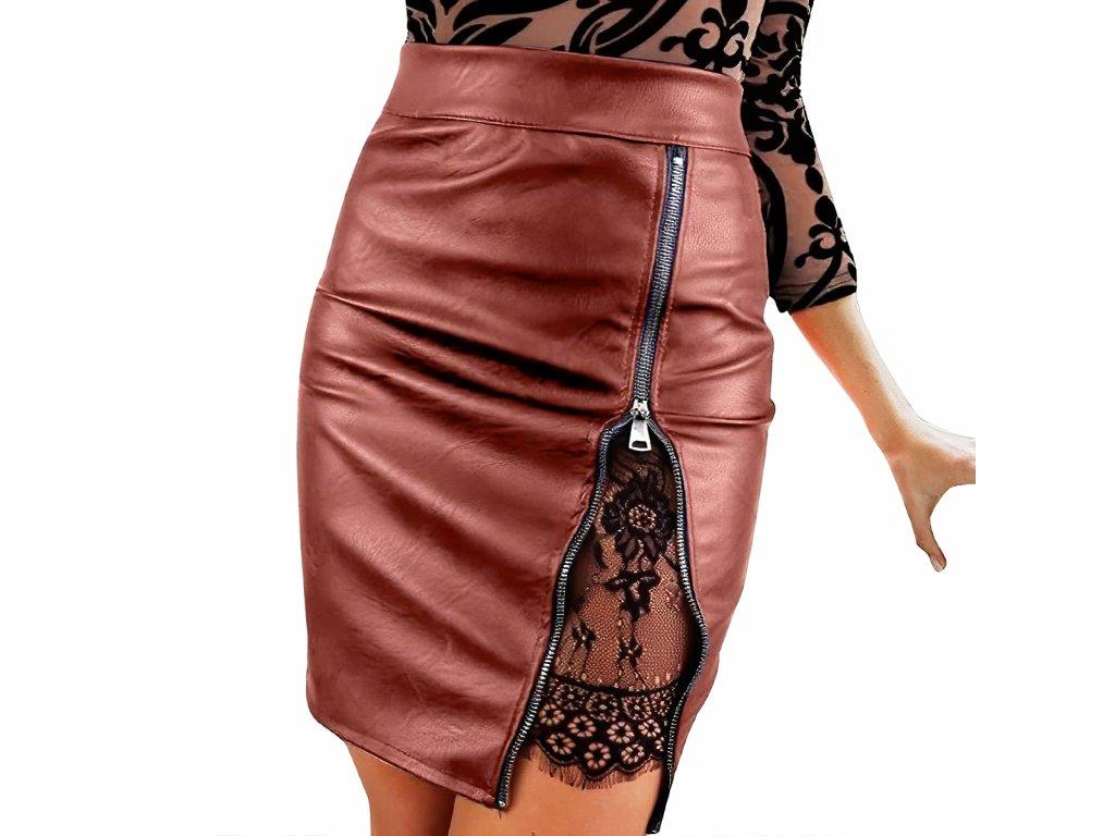 Sexy sukně mini hnědá KONA16 1