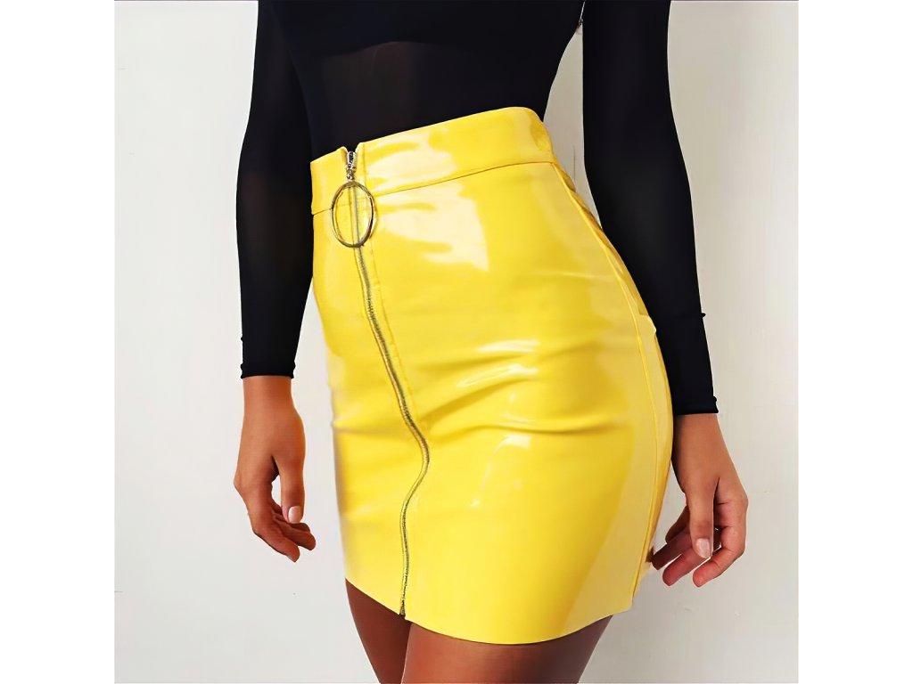 Sexy sukně mini žlutá KONA23 zpředu 1
