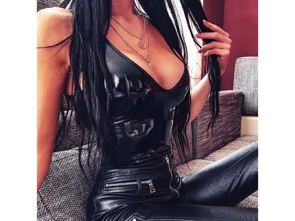 Sexy body lesklé černé LIZA 1 zboku 1