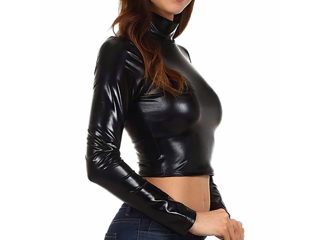 Sexy top lesklý černý LIDA1 zboku 1