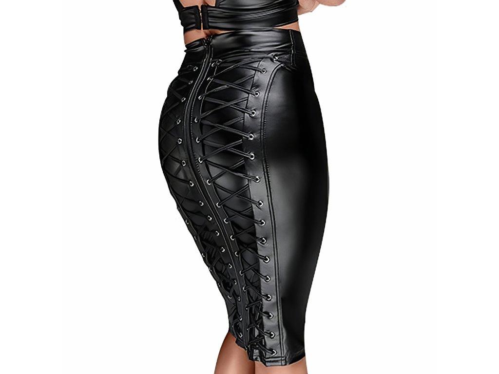 Sexy sukně střední černá JINA3 zezadu detail 1