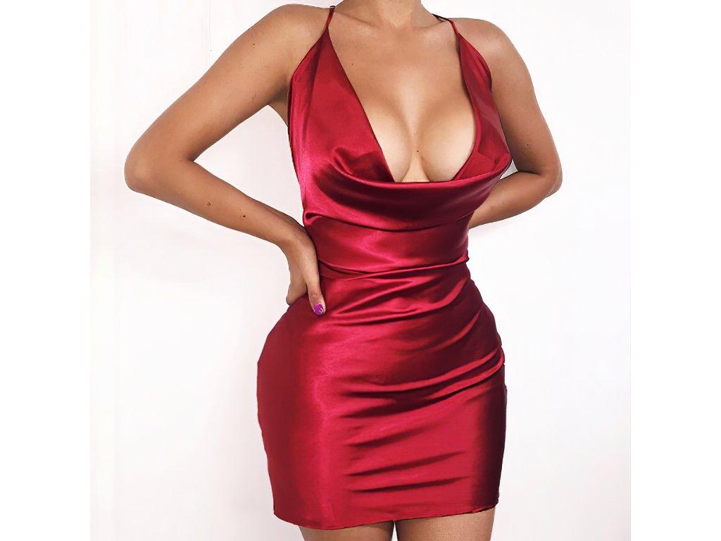 Sexy šaty mini lesklé červené LETY26 zpředu 1