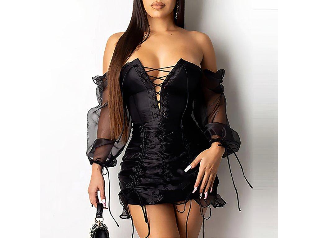 Sexy šaty mini lesklé černé LUNA 3 zpředu 2