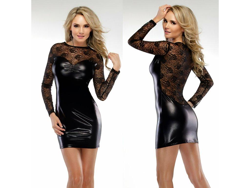 SEXY šaty lesklé mini LENA 1 zpředu zezadu