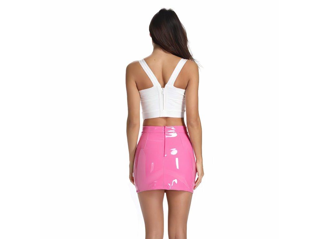 Sexy sukně mini lesklá růžová DARA8 zezadu 1