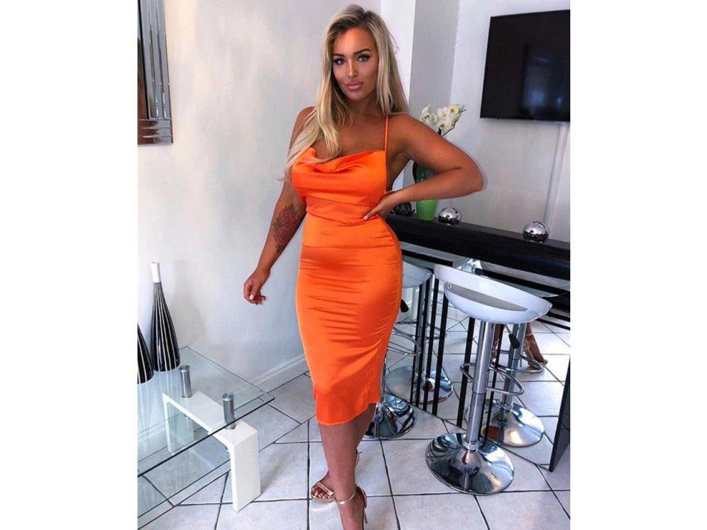 Sexy šaty střední lesklé svítivě oranžové HANA25 zpředu 1