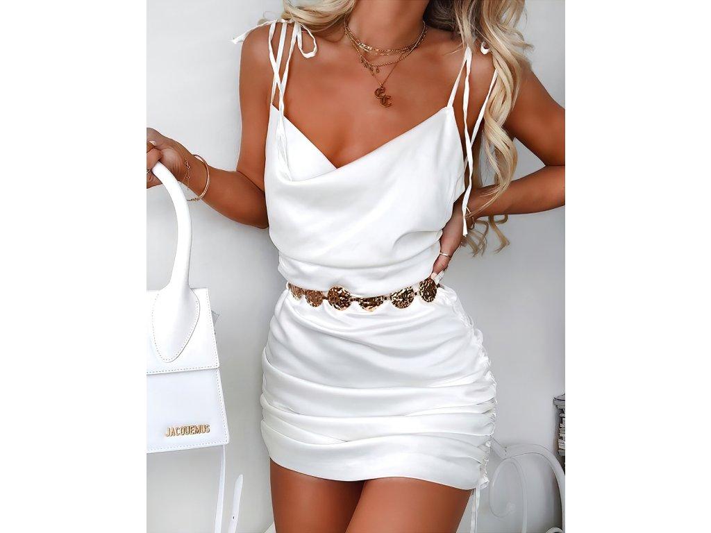 Sexy šaty mini lesklé bílé ALLY3 zpředu 1