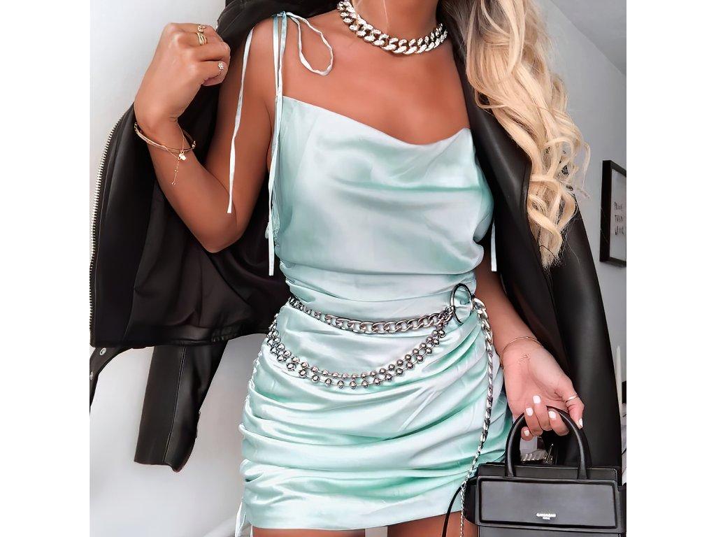 Sexy šaty mini lesklé tyrkysové ALLY 4 zpředu detail 1
