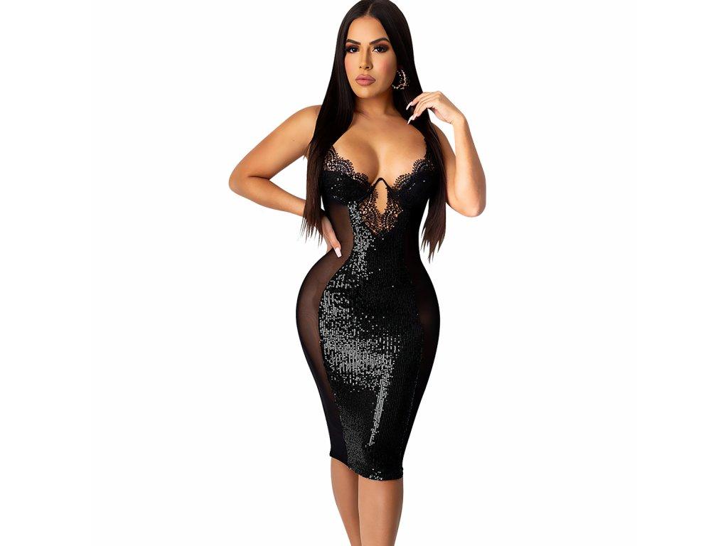Sexy šaty střední lesklé černé LENA2 zpředu 2