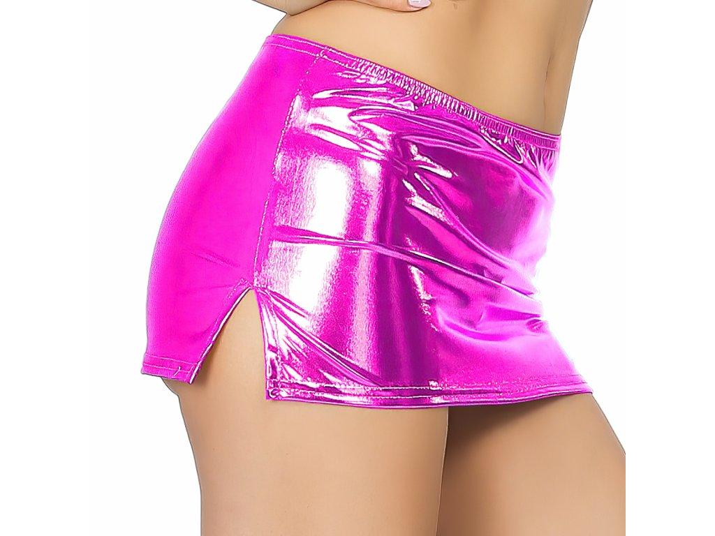 Sexy sukně mini lesklá růžová NARA8 zboku 1