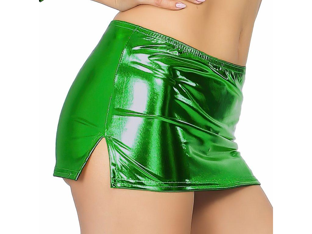 Sexy sukně mini lesklá zelená NARA9 zboku 1