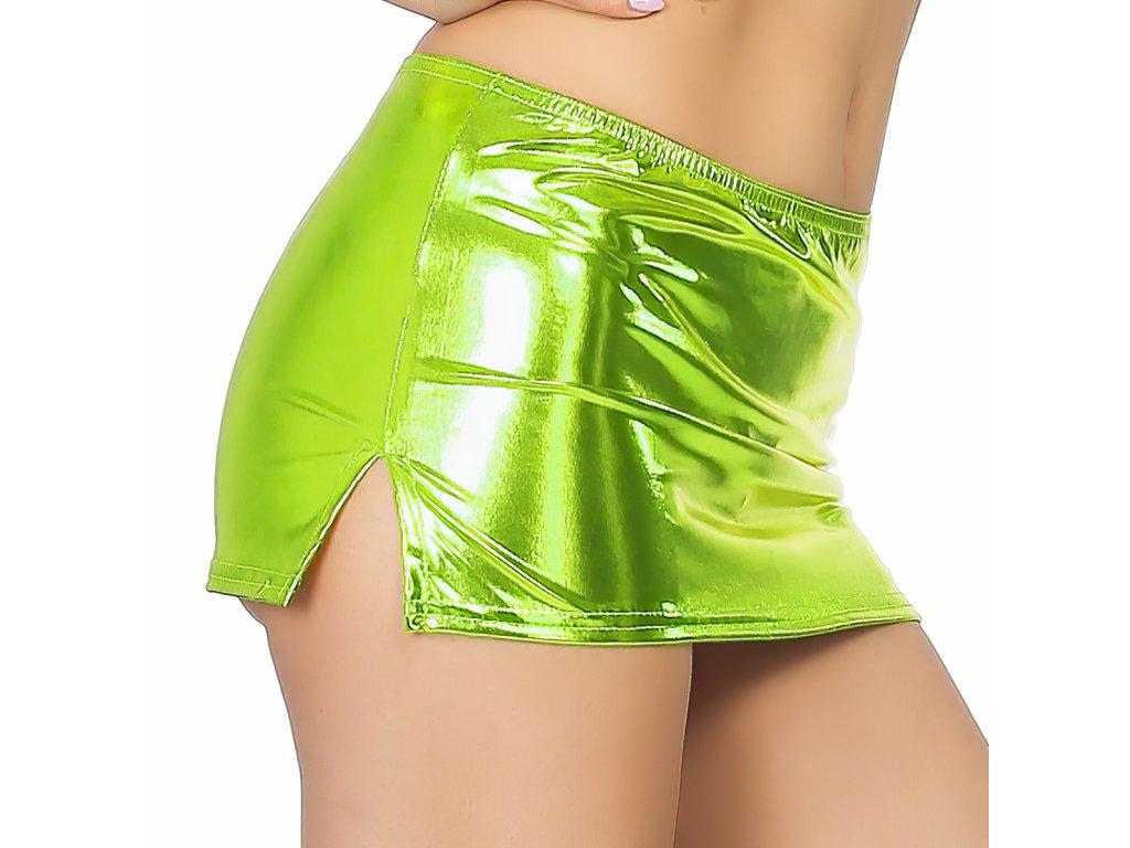 Sexy sukně mini lesklá světle zelená NARA10 zboku 1
