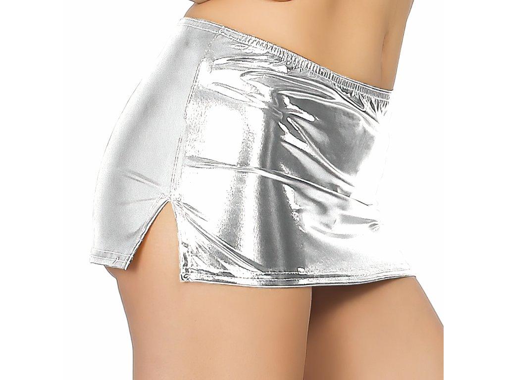 Sexy sukně mini lesklá stříbrná NARA11 zboku 1