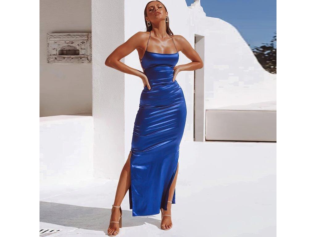 Sexy šaty dlouhé lesklé modré AIRA2 zpředu 1