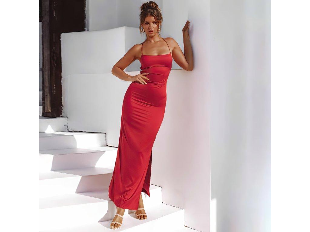 Sexy šaty dlouhé lesklé červené AIRA3 zpředu 1