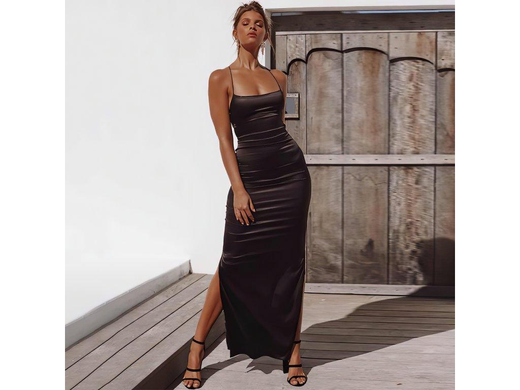 Sexy šaty dlouhé lesklé černé AIRA4 zpředu 1