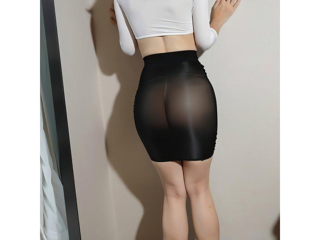 Sexy sukně mini lesklá černá DARA18 zezadu 1