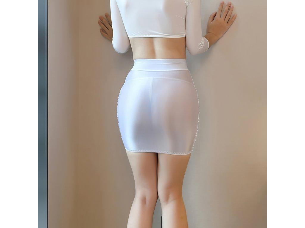 Sexy sukně mini lesklá bílá DARA19 zezadu 1