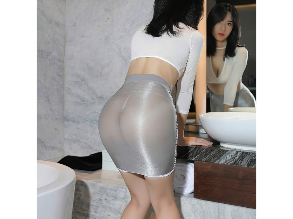 Sexy sukně mini lesklá stříbrná DARA21 zezadu 1