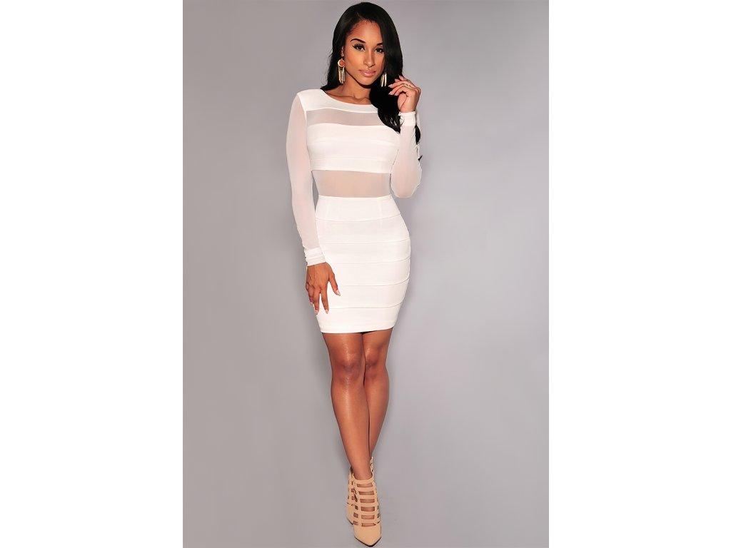 Sexy šaty střední bílé URSA2 zpředu 2