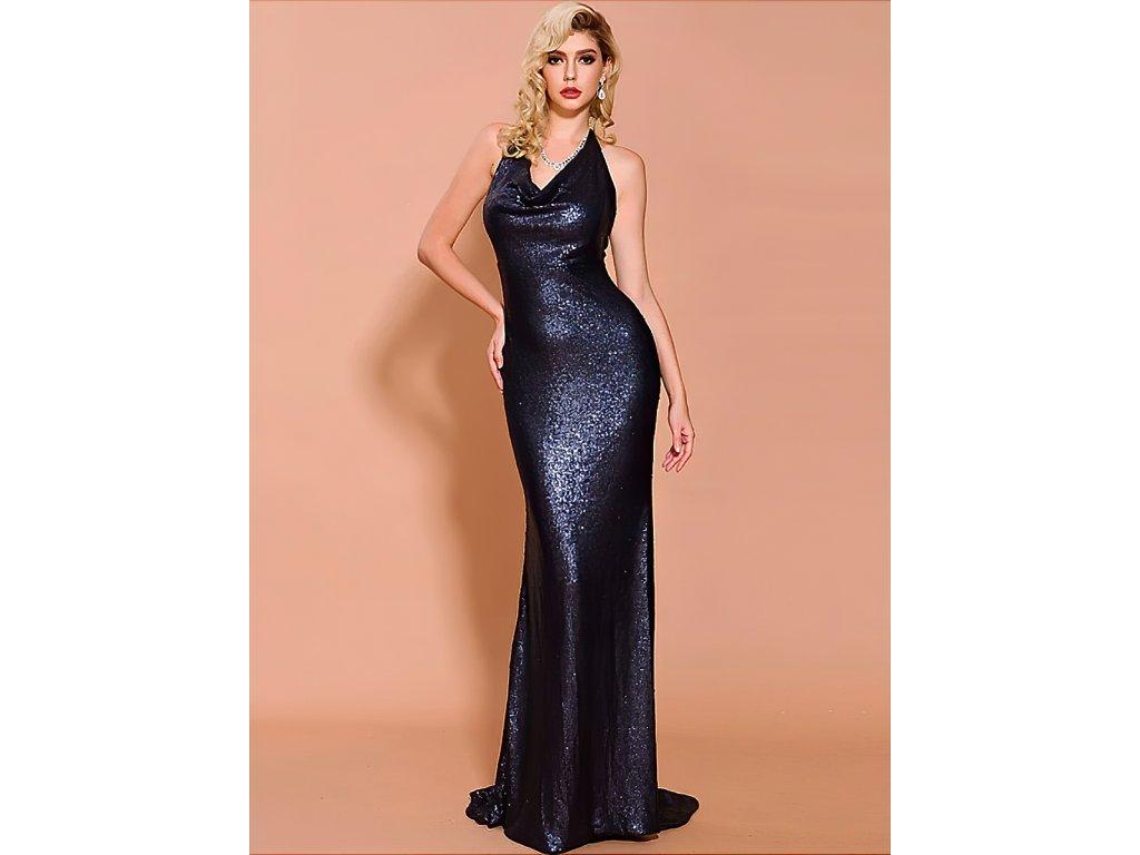 Sexy šaty dlouhé lesklé modré ZINA21 zpředu 2