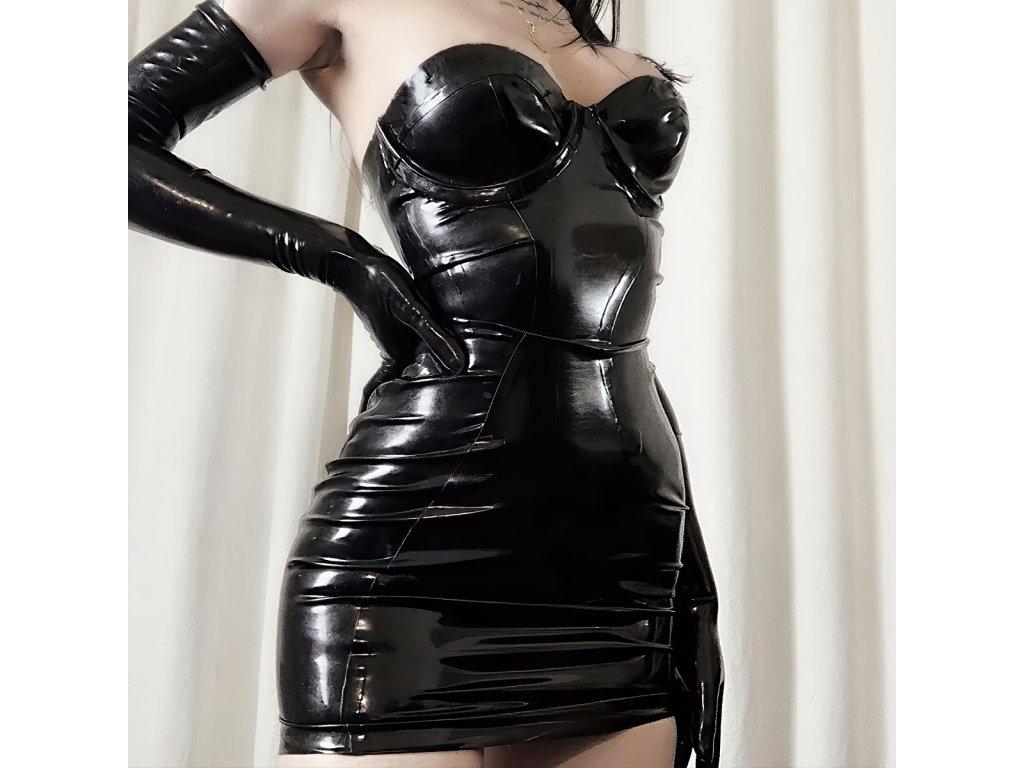 Sexy šaty mini lesklé černé LADA4 zpředu 2