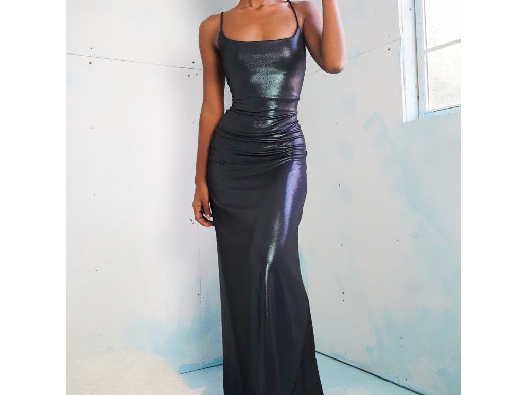 Sexy šaty dlouhé lesklé černé ARRI1 zpředu 1