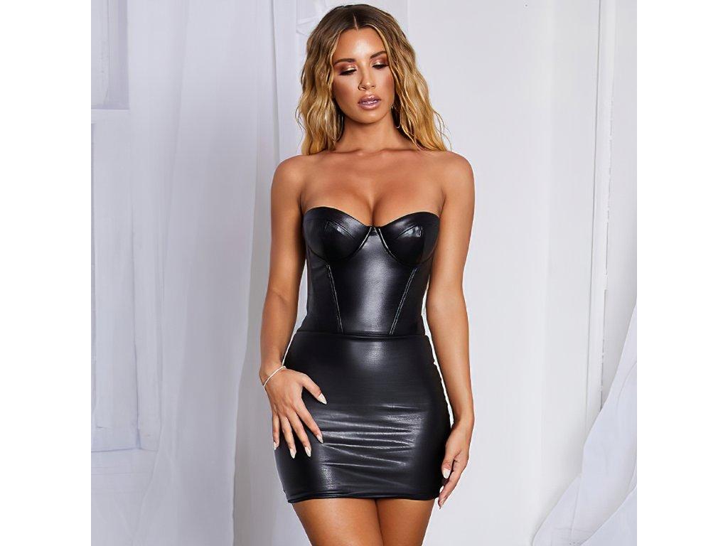SEXY šaty lesklé mini LENA 5 zpředu 1