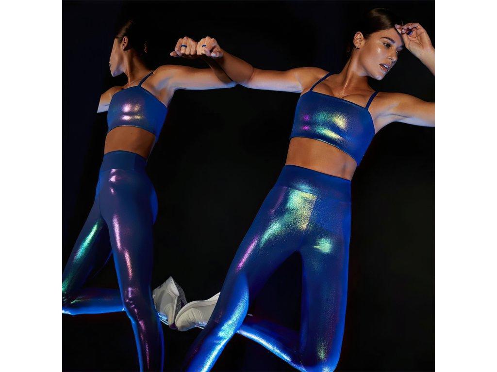 Sexy legíny metalické středně modré PANA6 zpředu 1
