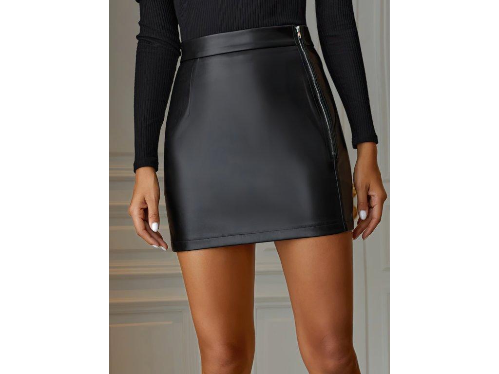 Sexy sukně mini černá KONA24 zpředu detail 1