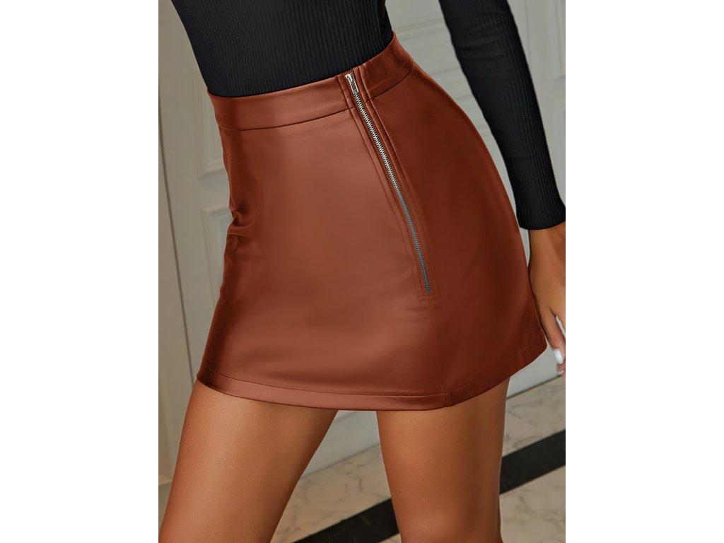 Sexy sukně mini hnědá KONA25 zpředu detail 1