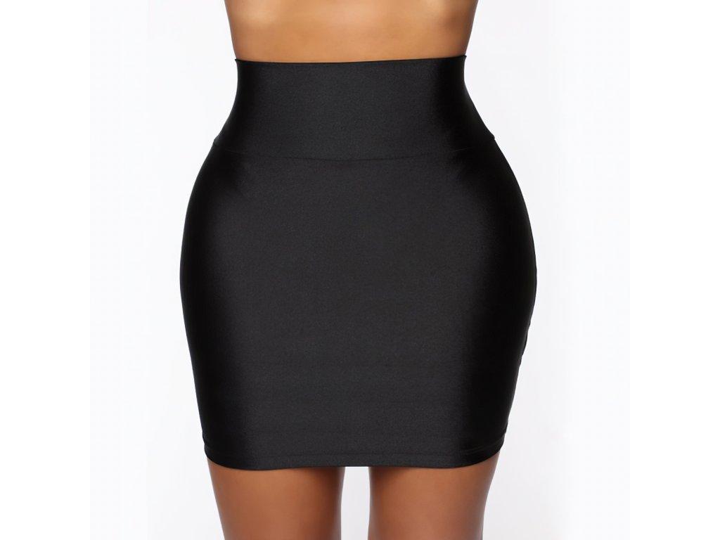 Sexy sukně mini matná černá LOTA1 zpředu 1