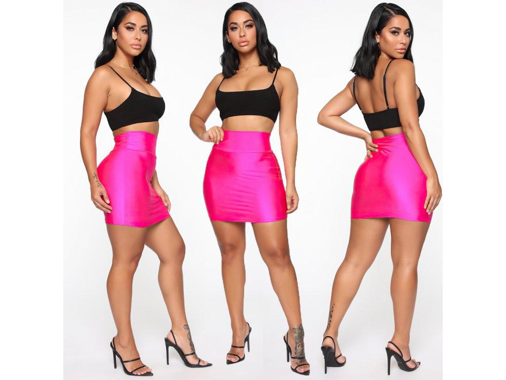 Sexy sukně mini matná růžová LOTA5 zpředu zezadu zboku 1
