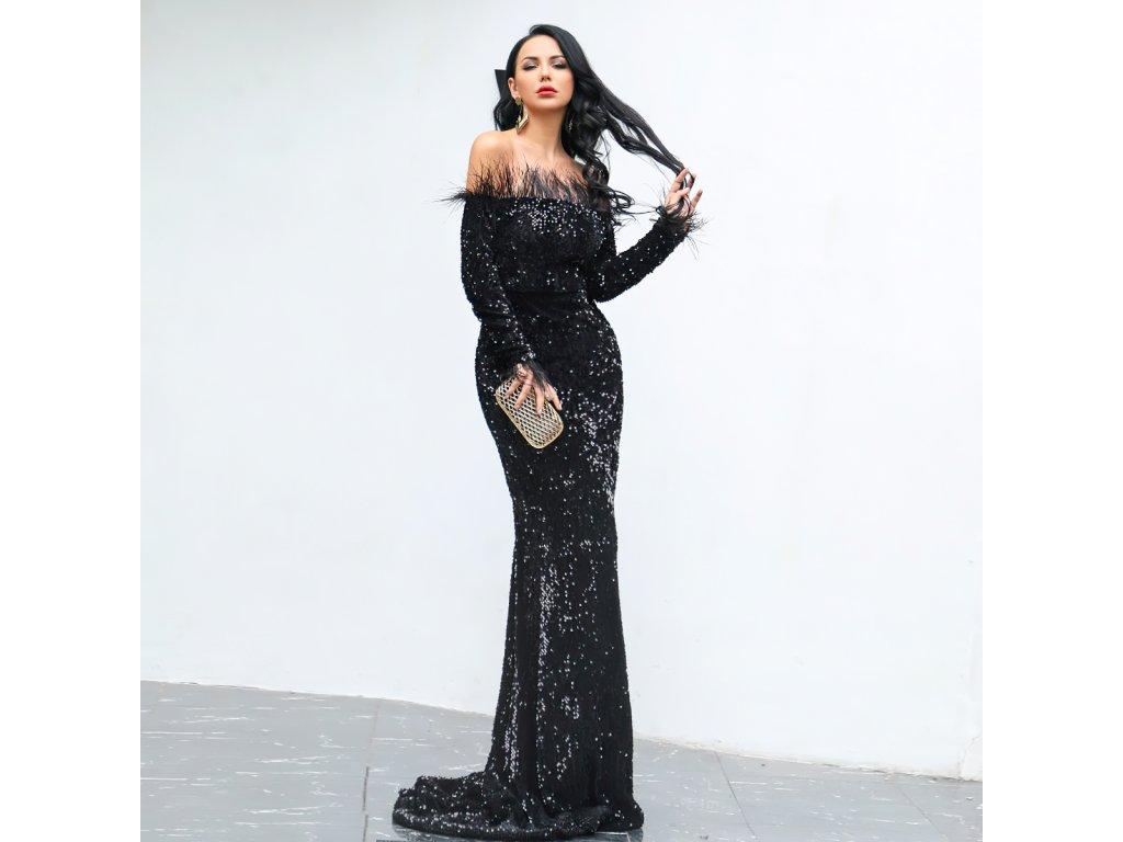 Sexy šaty dlouhé lesklé černé ZINA30 zpředu 2