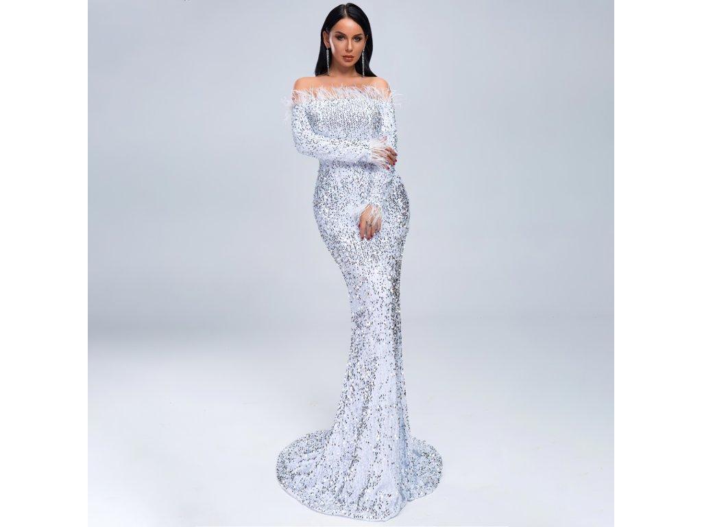 Sexy šaty dlouhé lesklé bílé ZINA32 zpředu 1