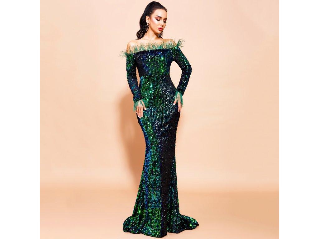 Sexy šaty dlouhé lesklé zelené ZINA33 zpředu 1