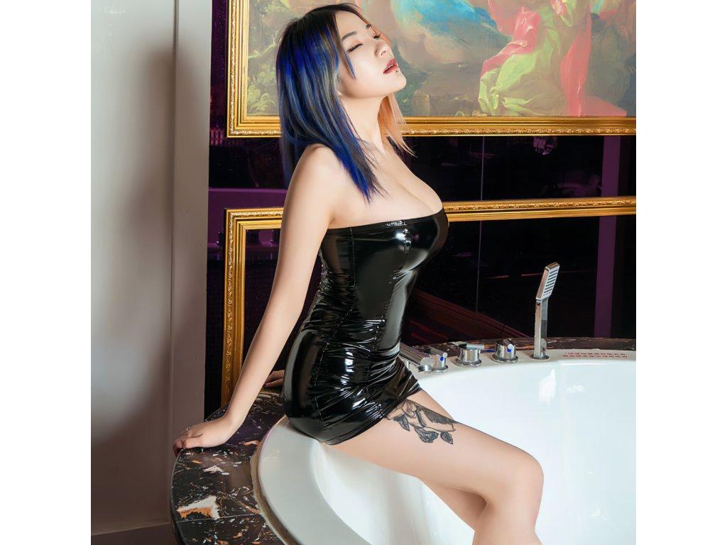 Sexy šaty mini lesklé černé LADA13 zboku 1