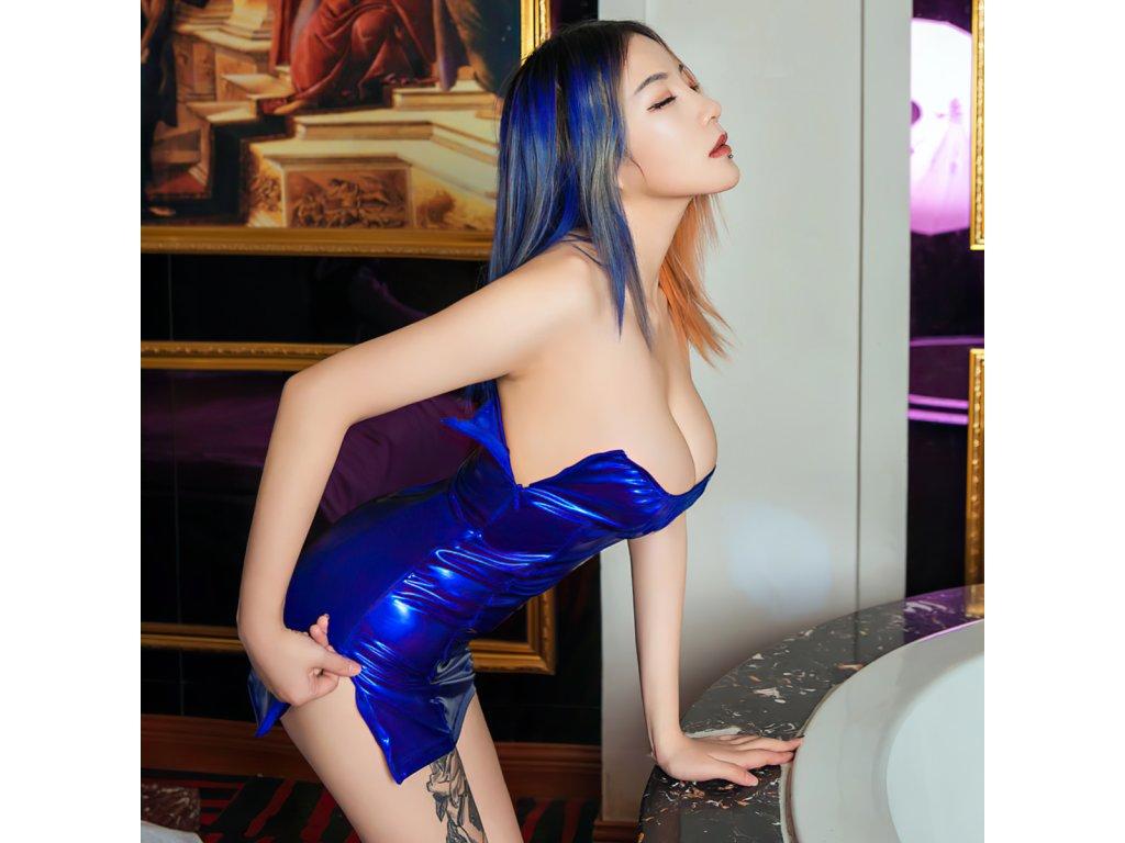 Sexy šaty mini lesklé modré LADA14 zpředu 1