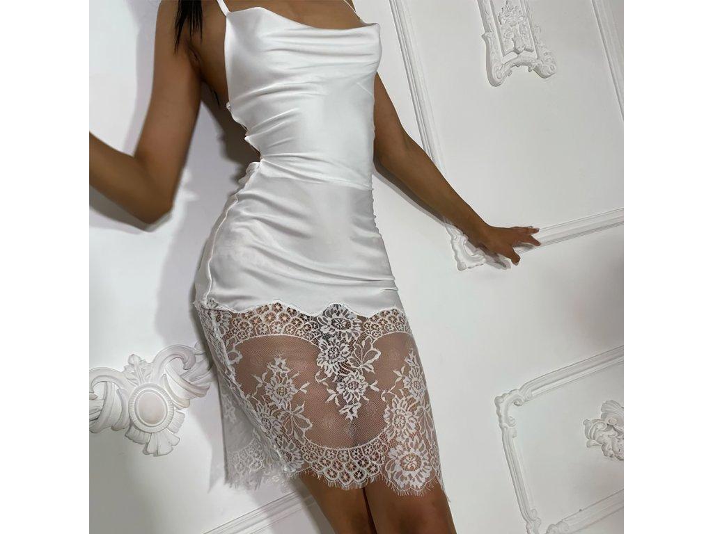 Sexy šaty střední lesklé bílé IRIN6 zpředu 1