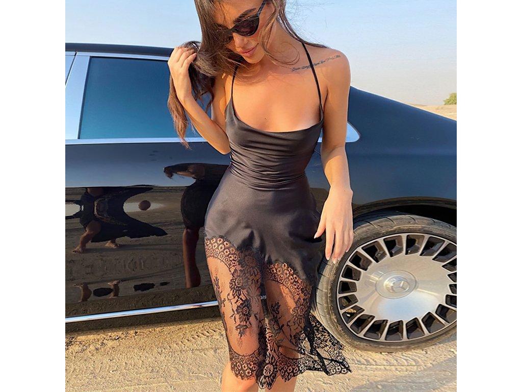 Sexy šaty střední lesklé černé IRIN3 zpředu 1