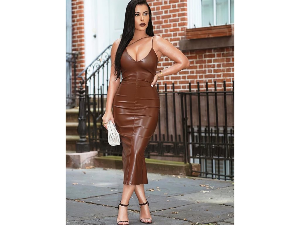 Sexy šaty střední lesklé hnědé ONNA3 zpředu 5