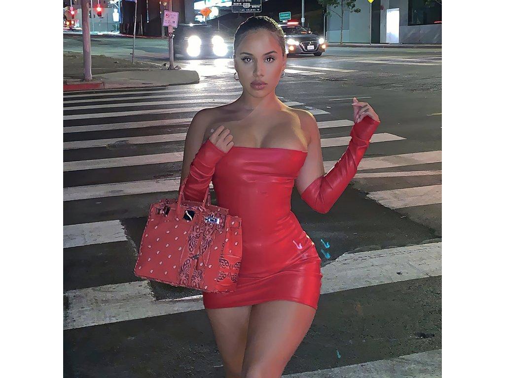 Sexy šaty mini lesklé červené LADA6 zpředu 1